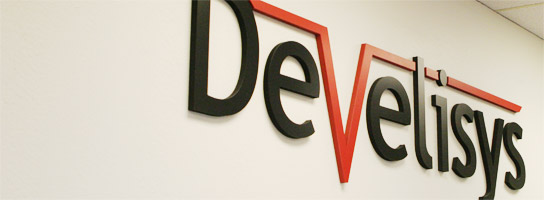 Develisys Logo on wall in office